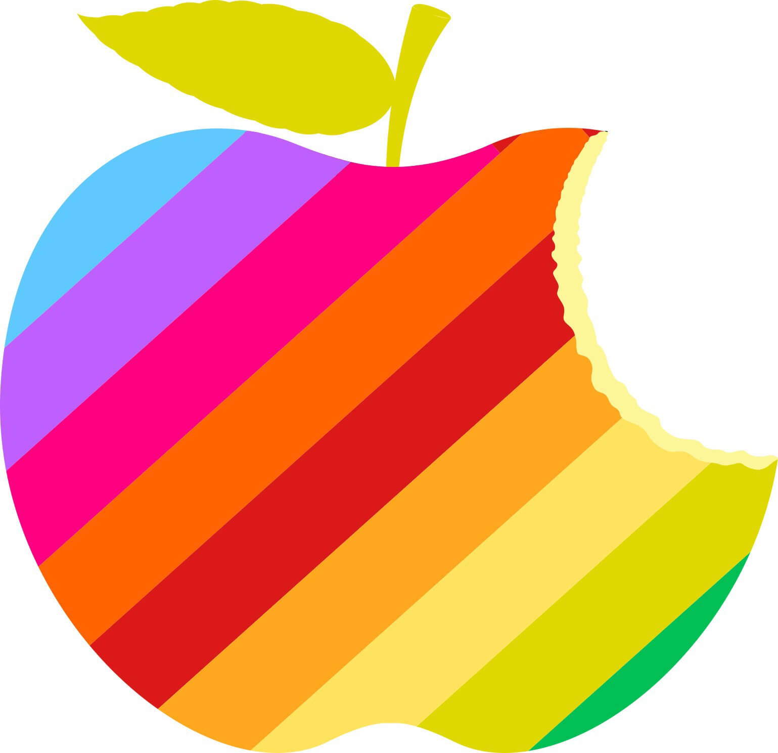 A cartoon apple with diagonal rainbow stripes and a bit taken out of the top right corner