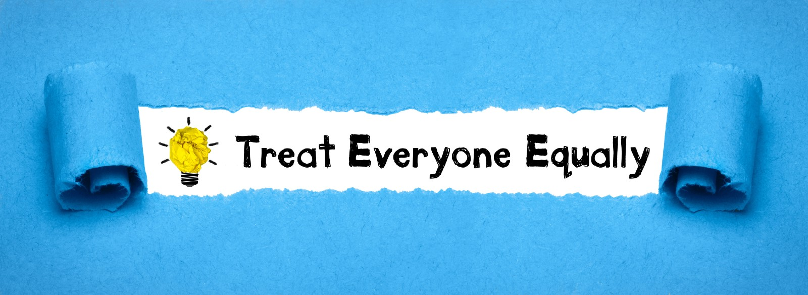 "Cartoon lightbulb with the words ""Treat Everyone Equally"" on a blue background"