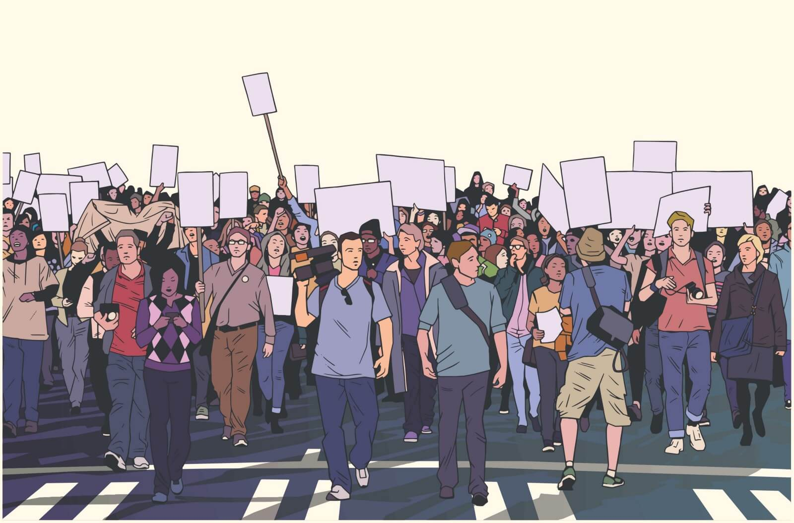 Cartoon rendition of dozens of various people of different genders, ethnicities, and ages protesting in the street