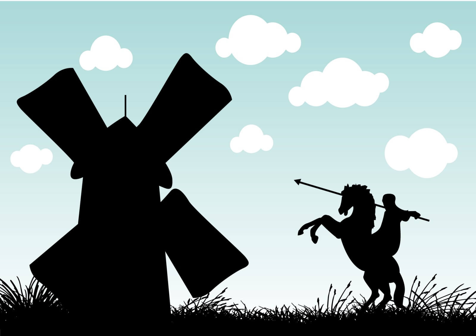Cartoon windmill in black with a Don Quixote like character on a horse with a spear charging towards it