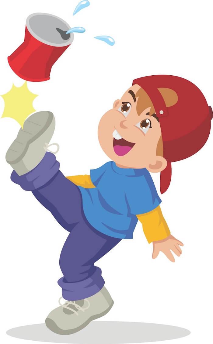 Cartoon young man kicking a can