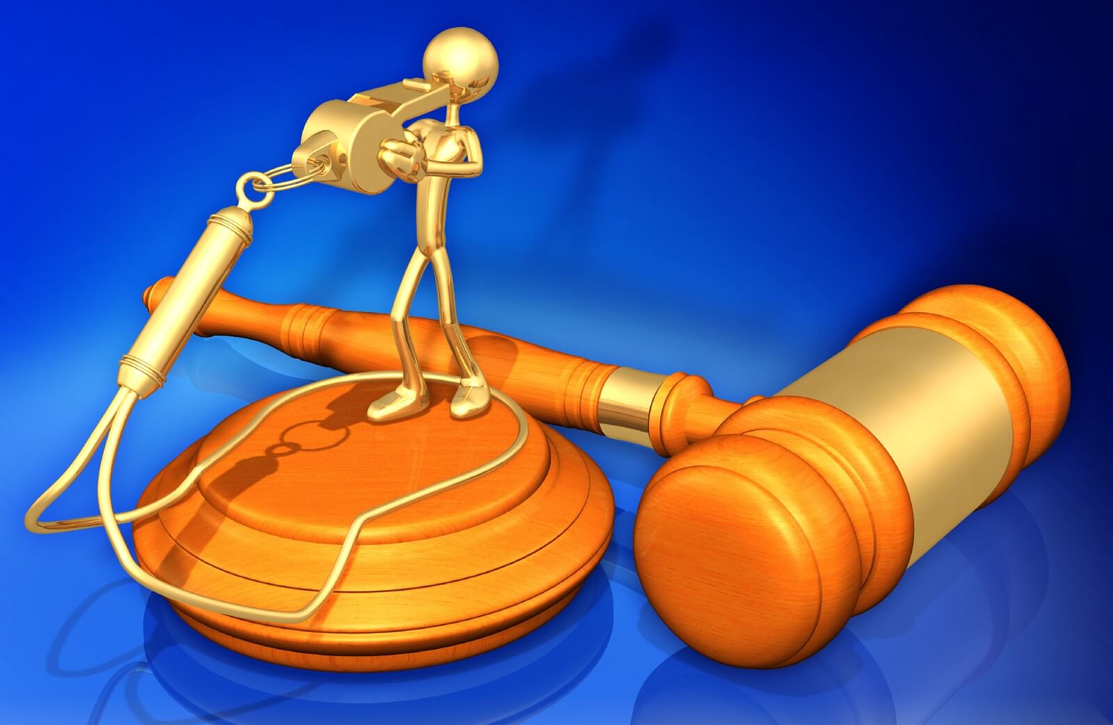 Golden three-dimensional human cartoon figure blowing into an oversized whistle attached to a neckloop while standing on a gavel pad with a gavel behind it.