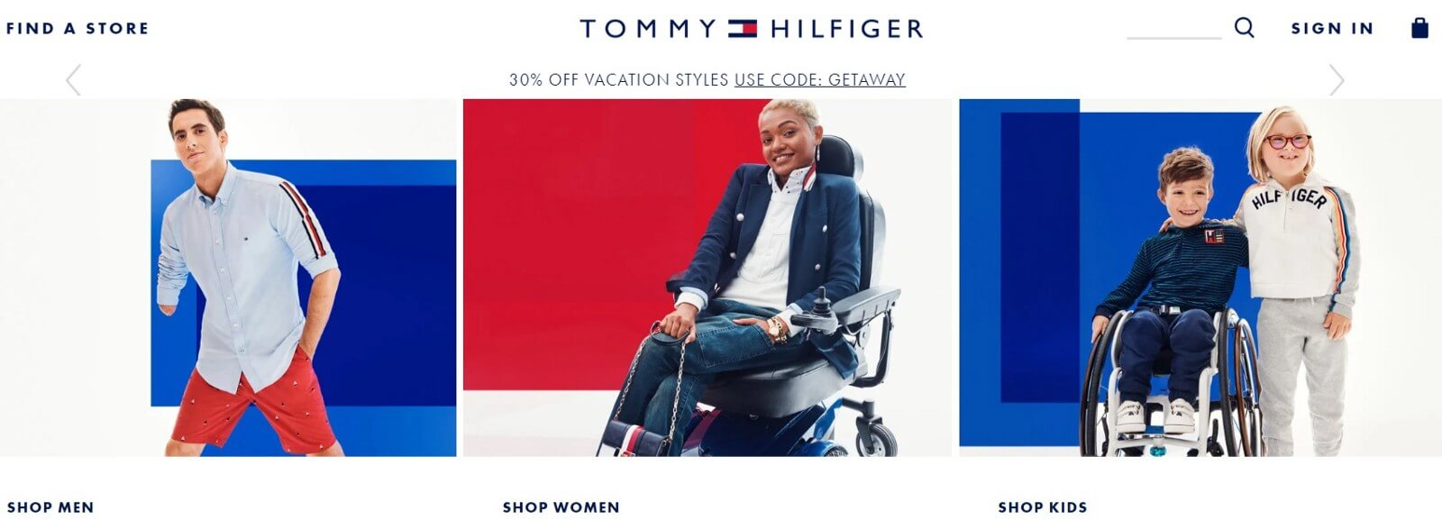 TommyHilfiger.com website screen shot showing adaptive clothing for people with disabilities. Young man with missing arm, African American woman in electric wheelchair, young boy in wheelchair with girl with Down's Syndrome standing next to him arm in arm. All wearing Tommy Adaptive clothing