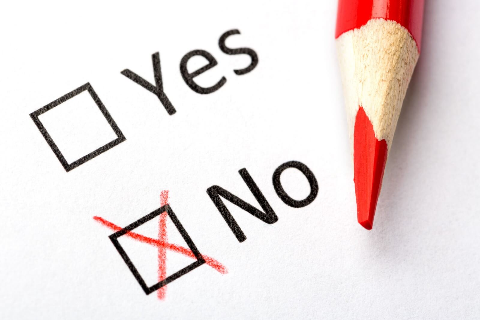 """Checklist with Yes and No Options, red pencil, X in """"no"""" checkbox"""