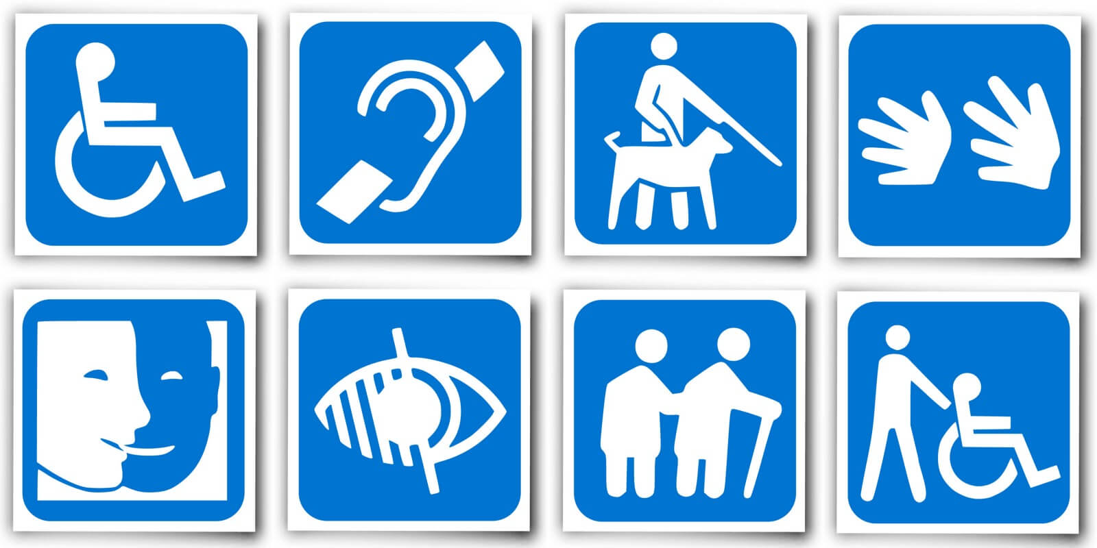 Eight blue icons representing different disabilities including mobility, hearing, legal blindness, dexterity, mental health, partial vision loss, aging, and assistance of someone with a mobility problem.