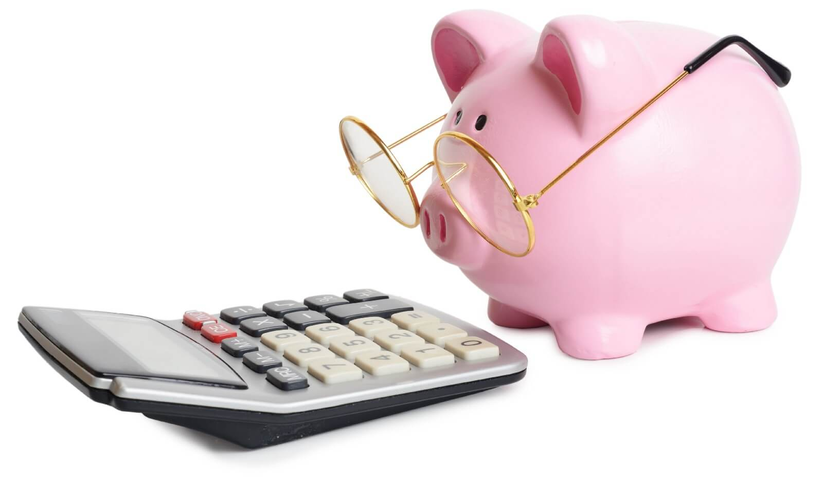 Ceramic Pink Piggy bank, pig is wearing glasses and staring at a old fashioned manual calculator