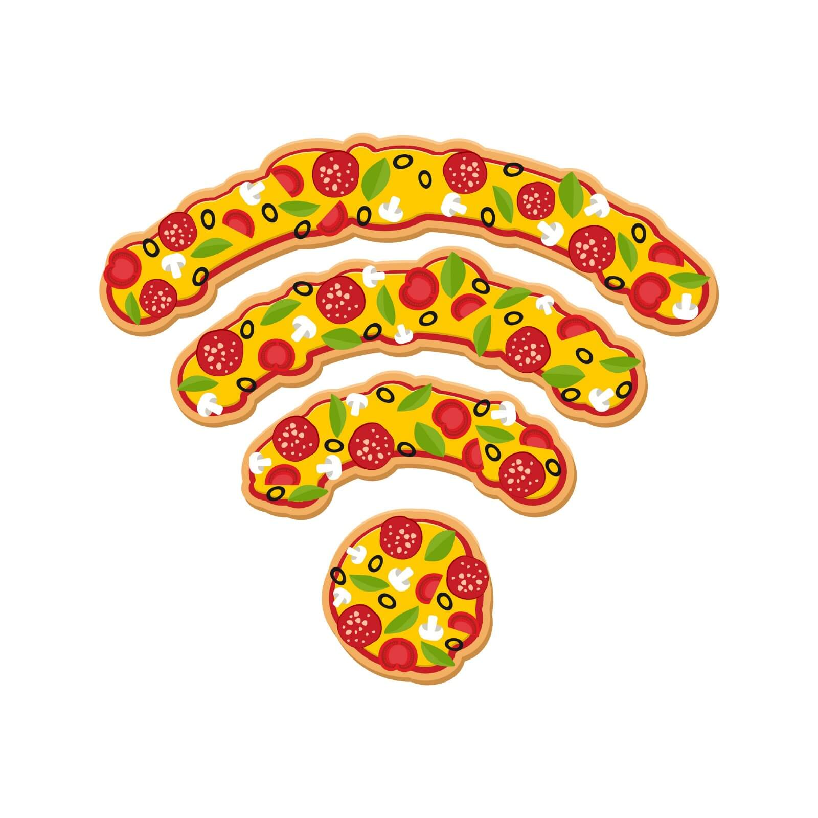 A network signal icon constructed from cartoon pepperoni pizza