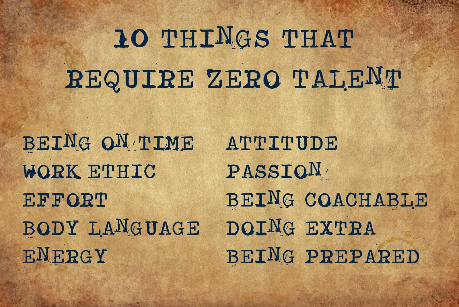 A board with ten things that require no talent
