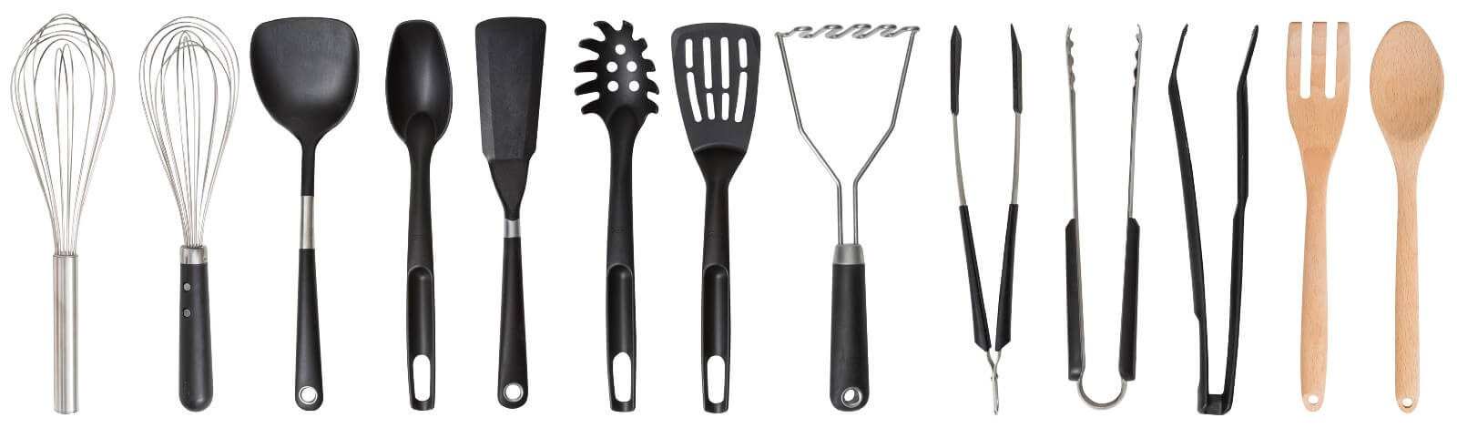 13 different types of kitchen utensils made of various materials