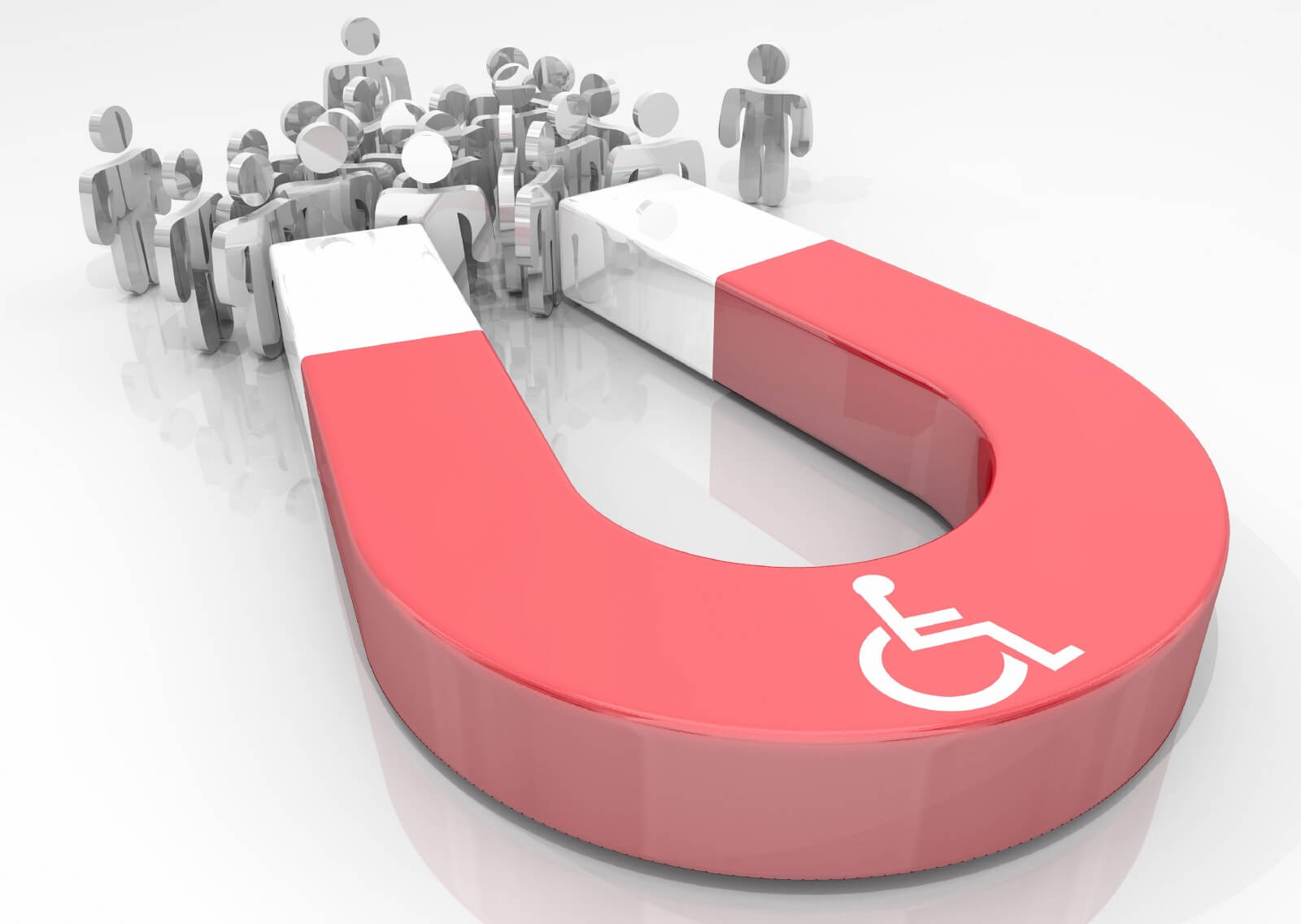"Red ""U"" shaped magnet with a white wheelchair symbol on it attracting metallic cartoon figurines"