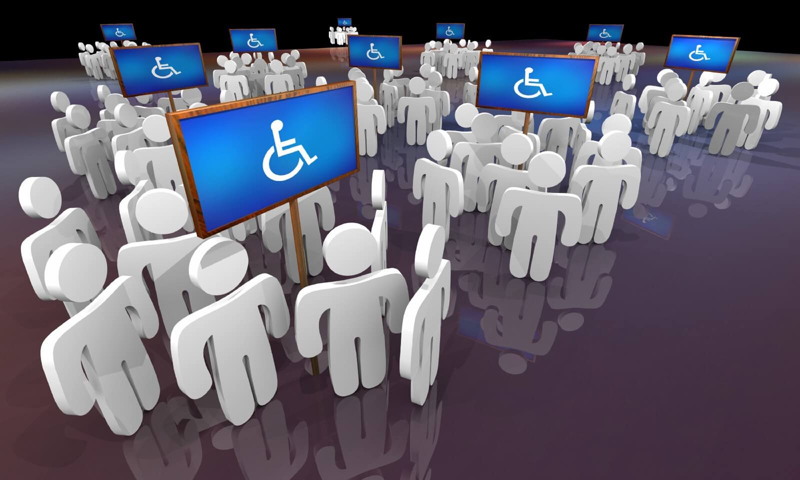 Cartoon human cutouts grouped under signs with the wheelchair symbol under them