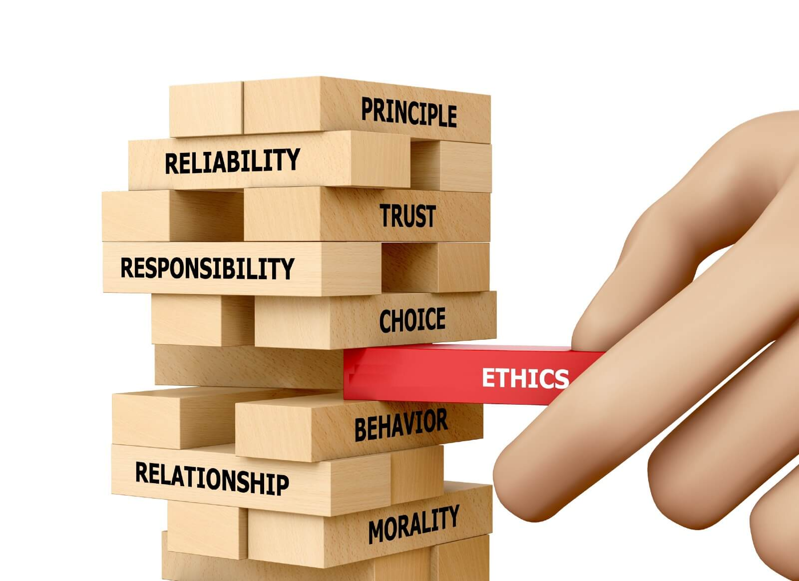 "Red wooden block labeled ""ethics"" in the center of a Jenga game, other blocks labeled morality, relationship, behavior, choice, responsibility, trust, reliability, principle"