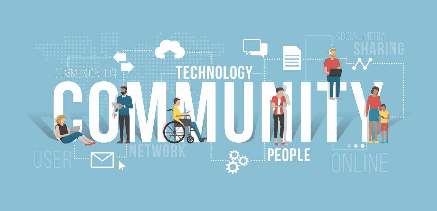Seven cartoon people different genders and ages (one in a wheelchair) with the words œTechnology Community People Network