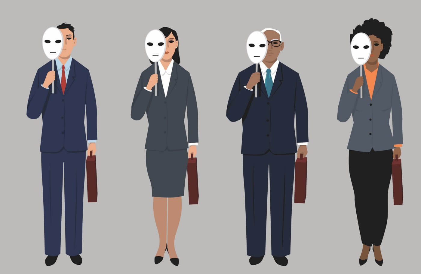 Four cartoon images of business people of different genders and races, each holding a white face mask partially covering their faces