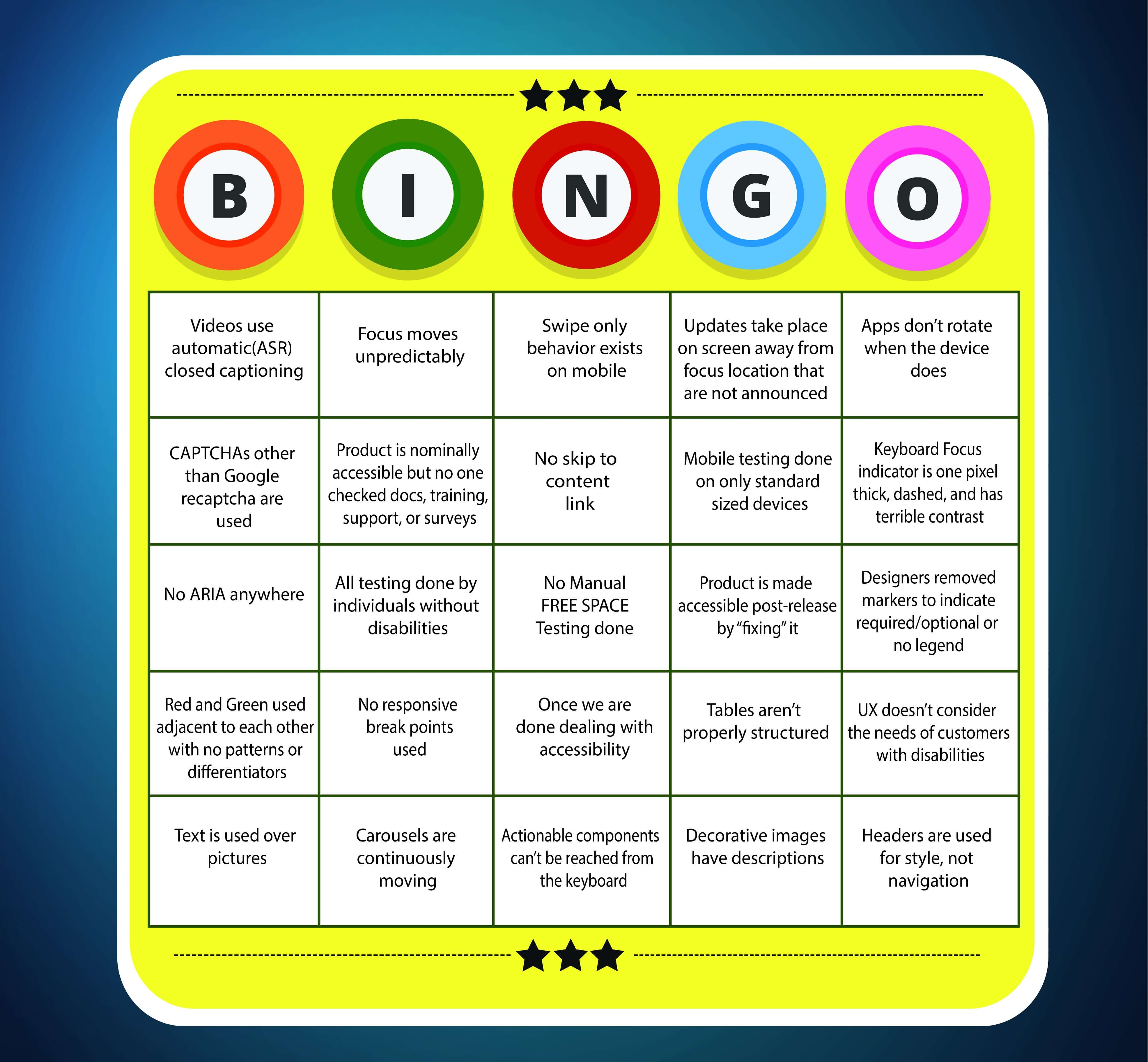 Yellow bingo game board with some advice and warning about the accessibility subject