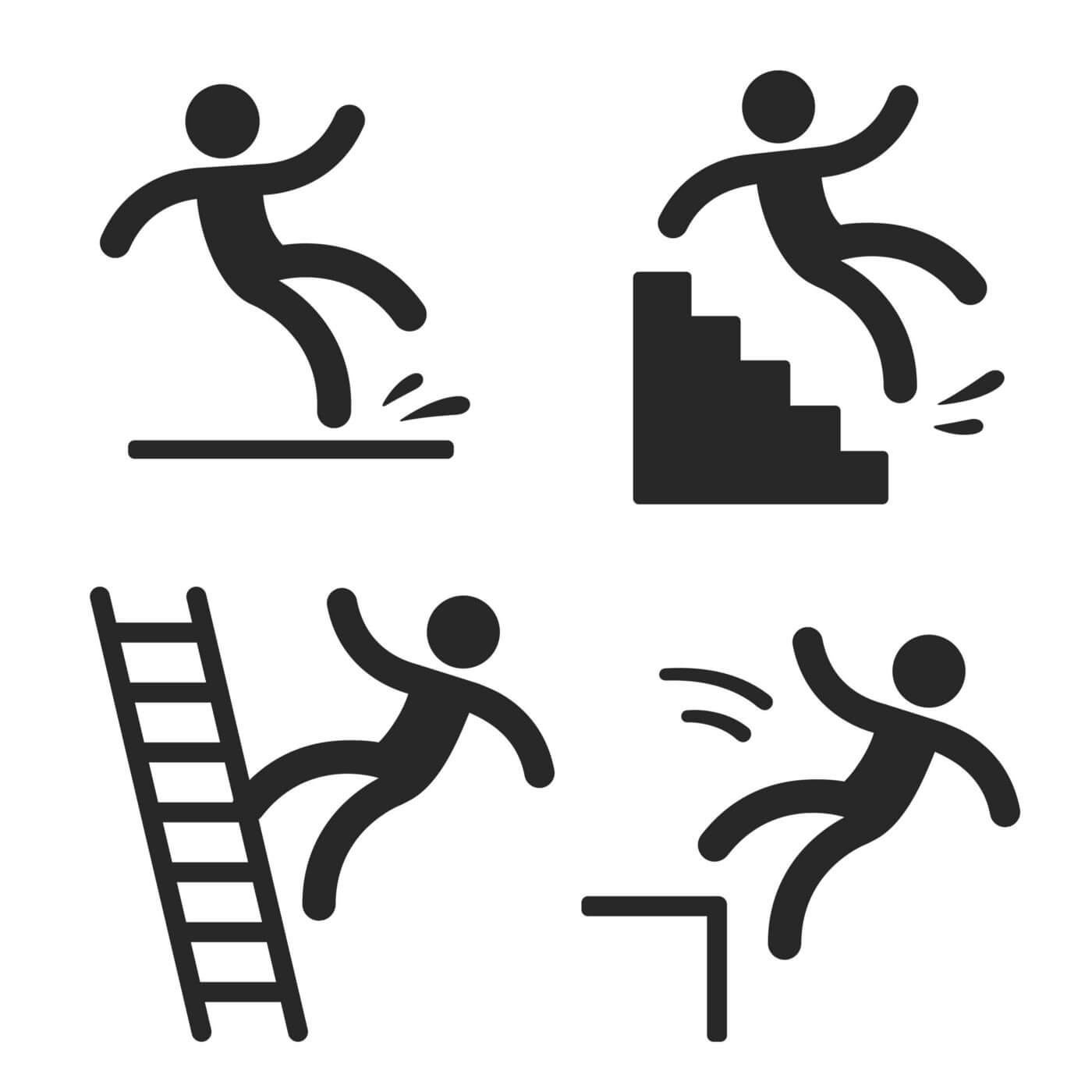 4 black and white cartoon drawings of people falling — off a ladder, slipping on a floor, off a flight of stairs, and off a curb
