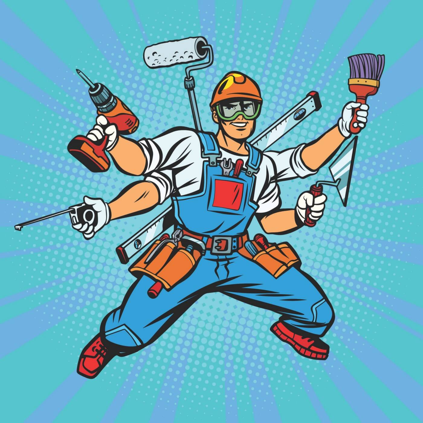 Cartoon man in overalls with four arms in a super hero pose completely laden down with construction tools (screwdrivers, pliers, level, tape measure, trowel, paint brush, paint roller, drill)