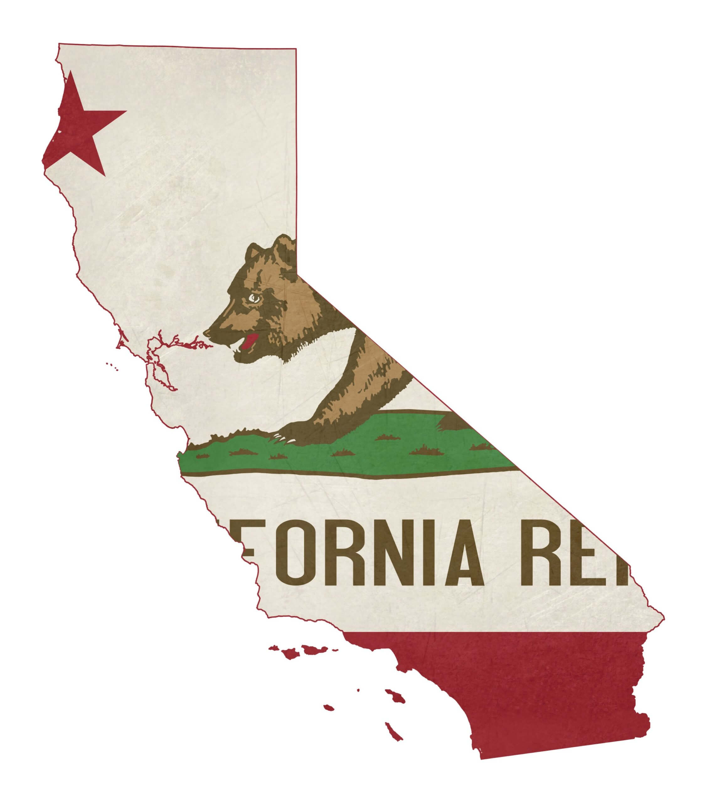 Map of California state with its flag as a background.
