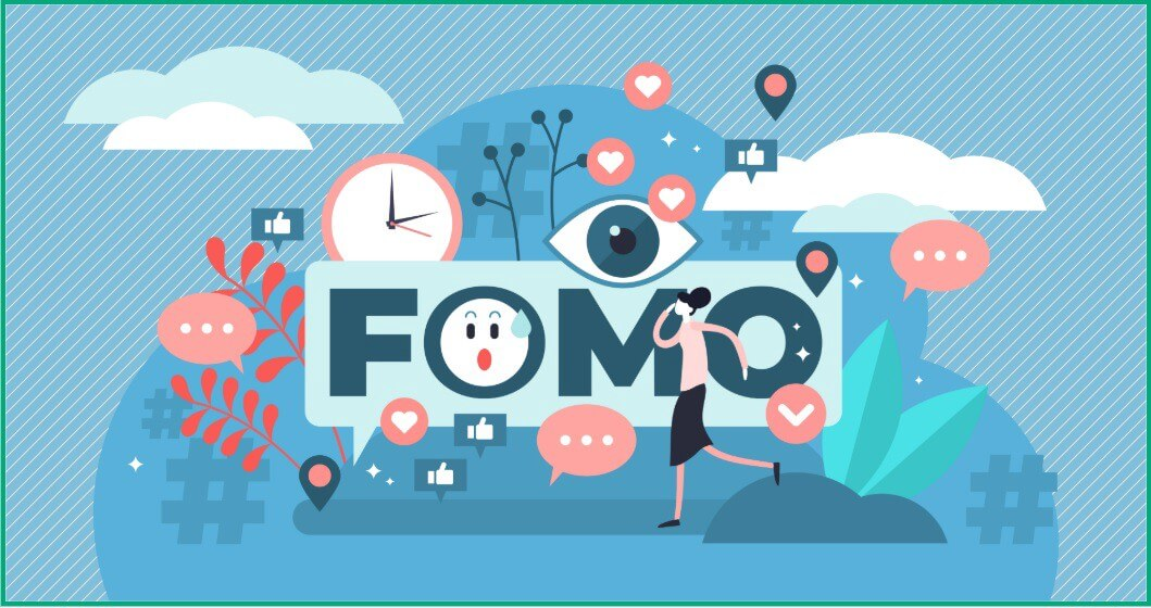 FOMO-Fear Of Missing Out w/ social media icons, hashtags, response buggles and a woman on a cell phone wading her way thru it