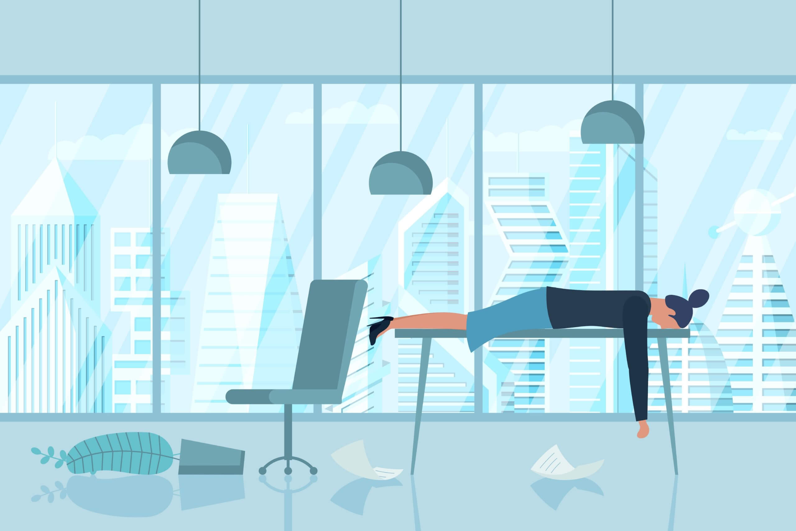 Cartoon female office worker lying tired on her desk