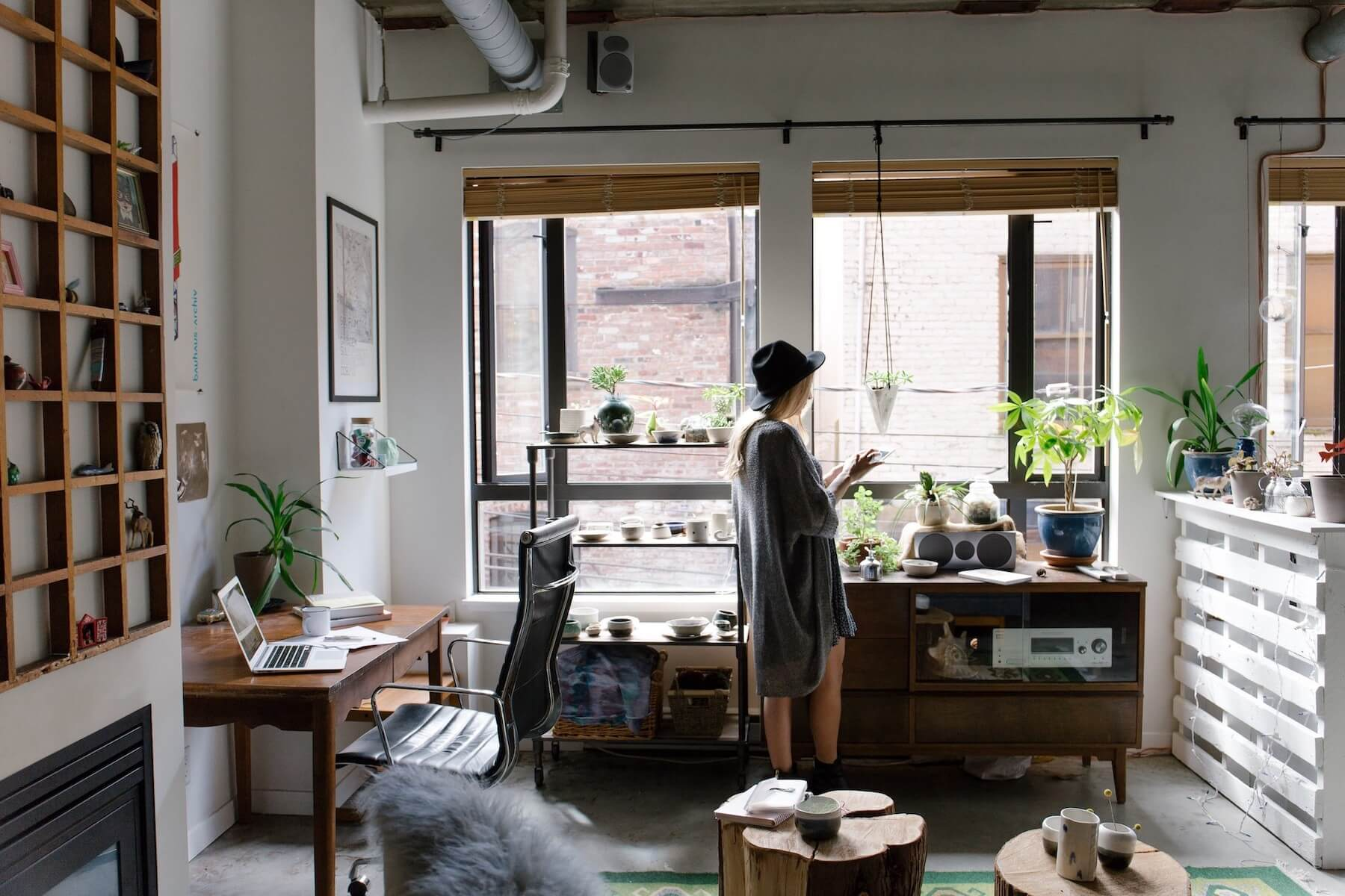 Girl in home office