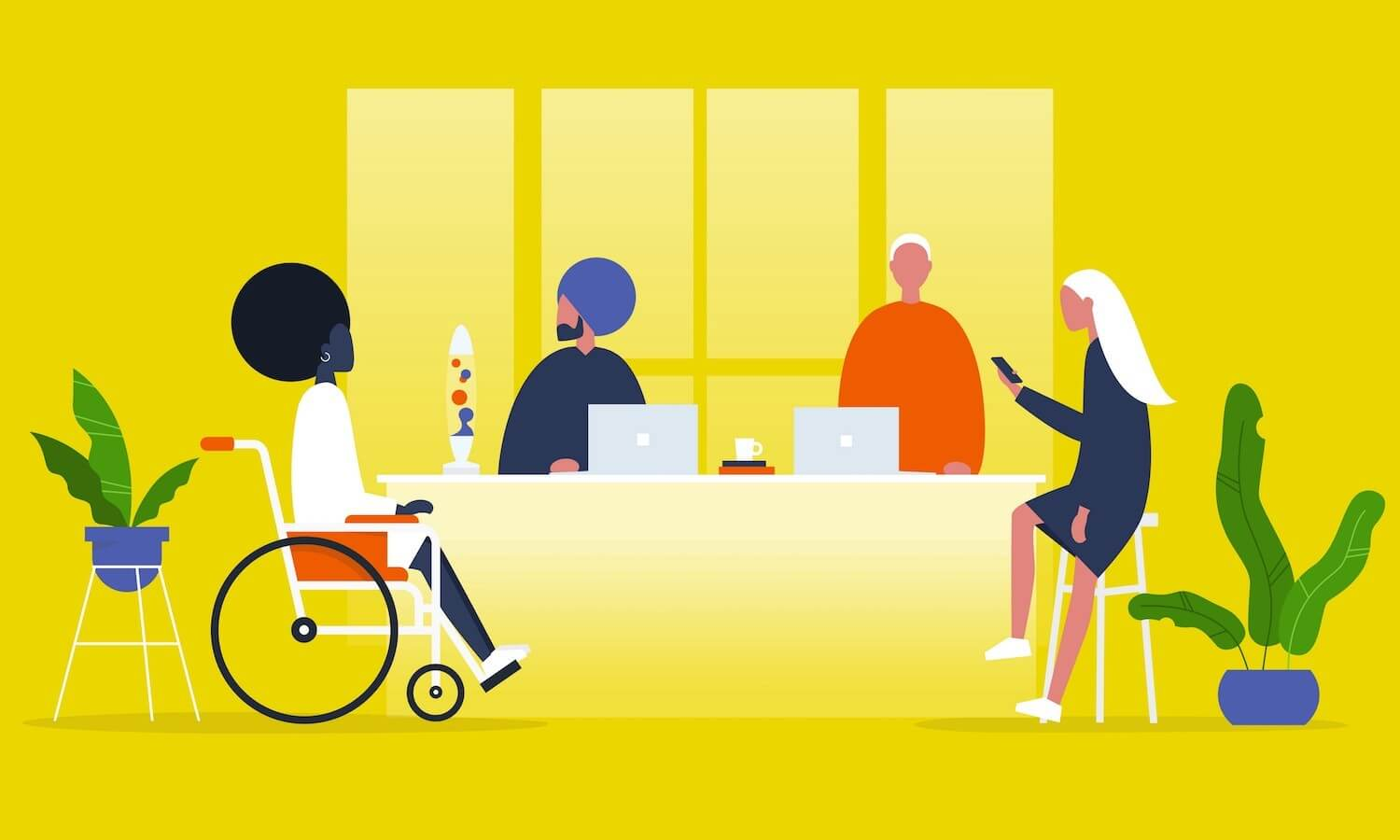 Four gender, ethnicity and ability cartoon people sitting at a table with plants on a yellow background