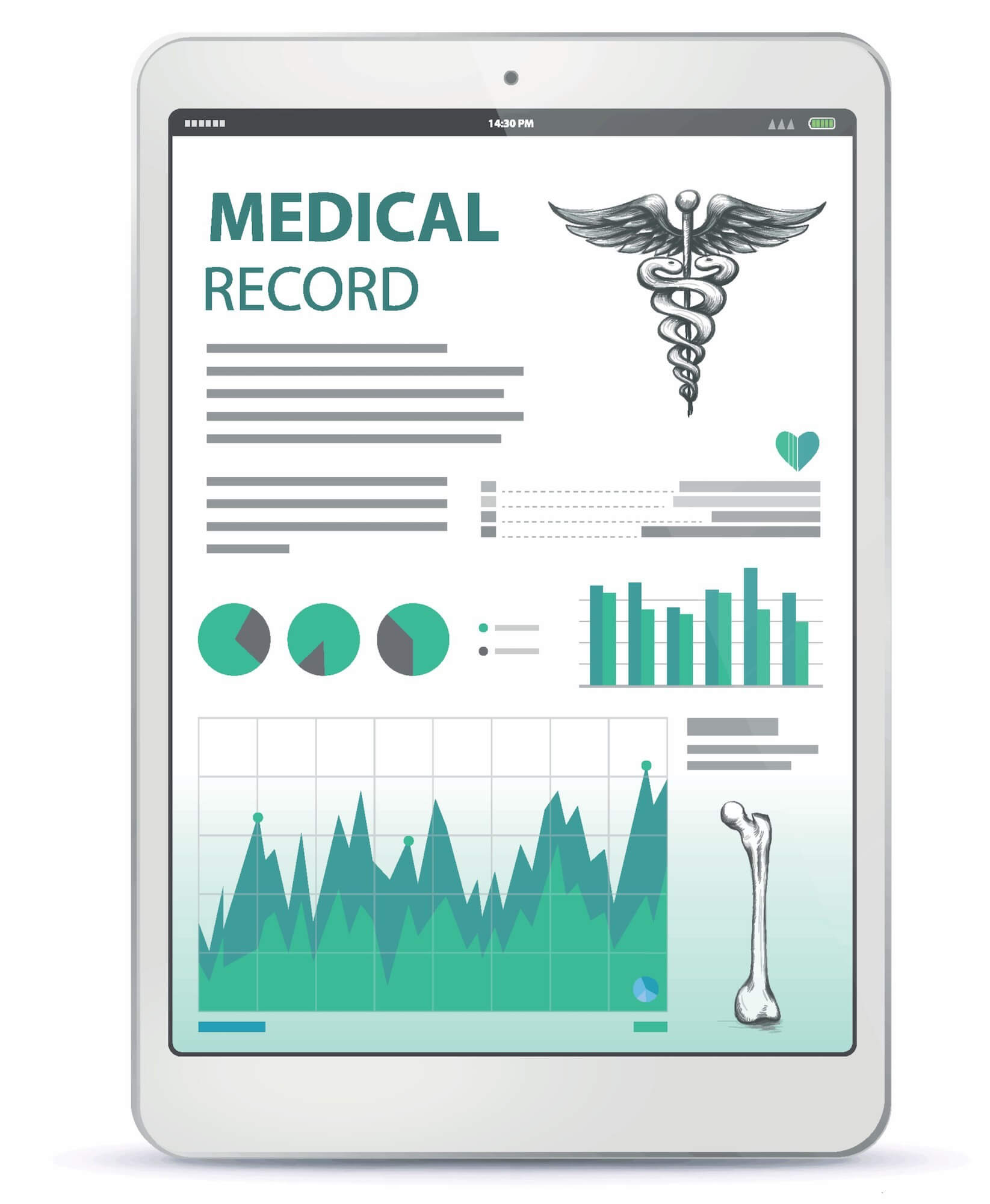 Graphical representation of electronic medical record displayed on a tablet with various medical charts, images, and text
