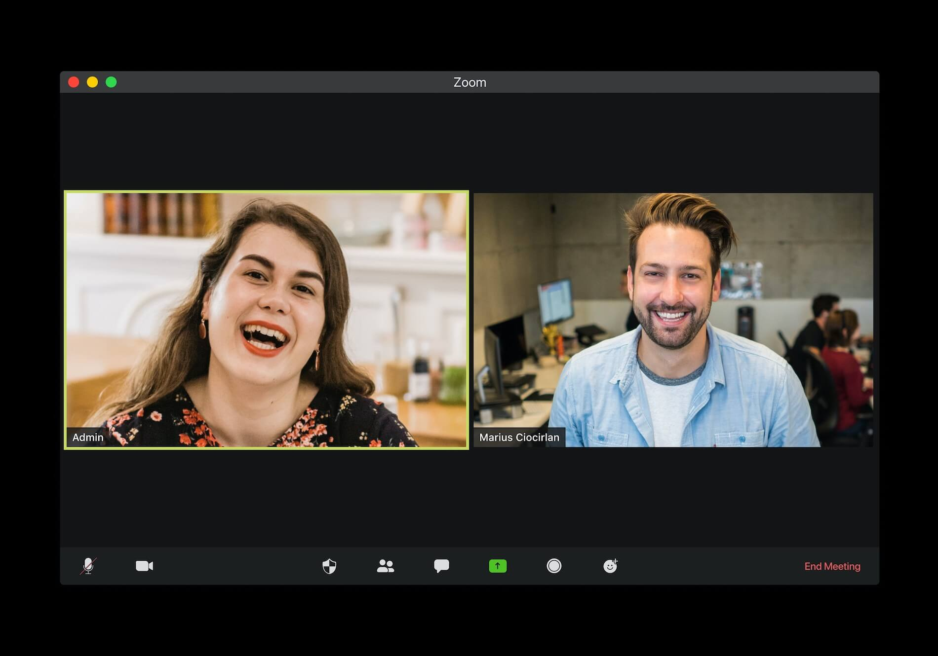 Man and woman on split-screen participating in zoom conference call