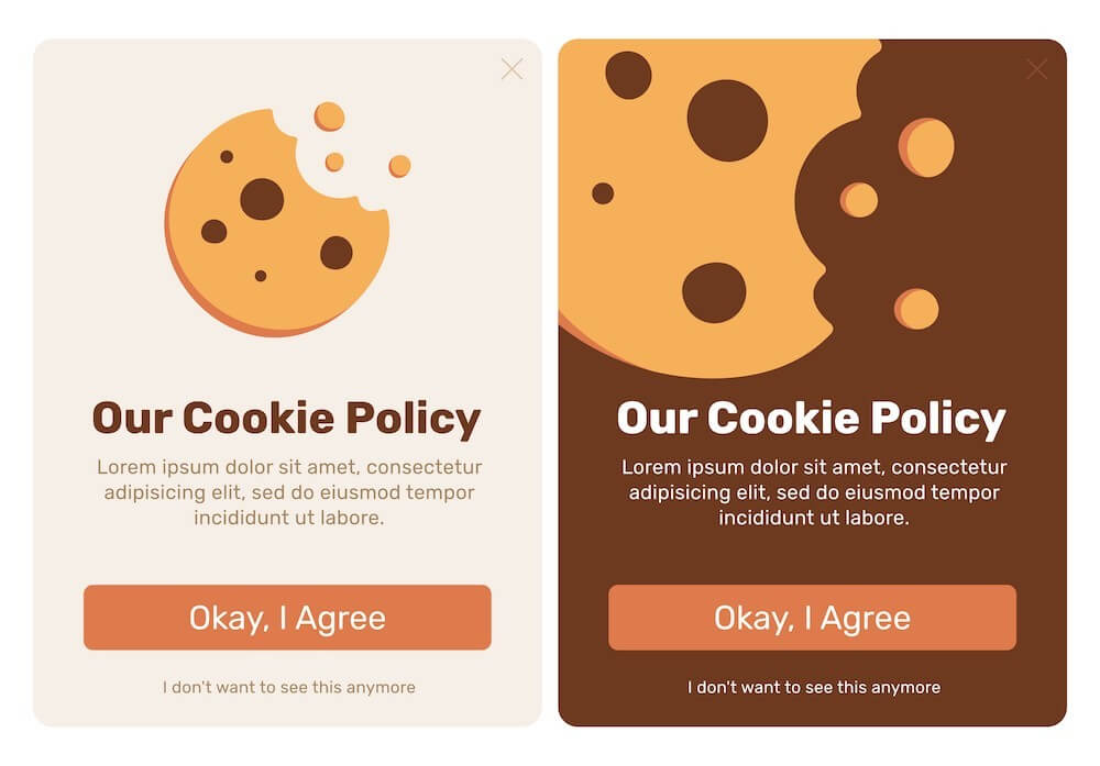 "Lorem Ipsum cookie banner template — ""Our Cookie Policy"" OK I agree button"