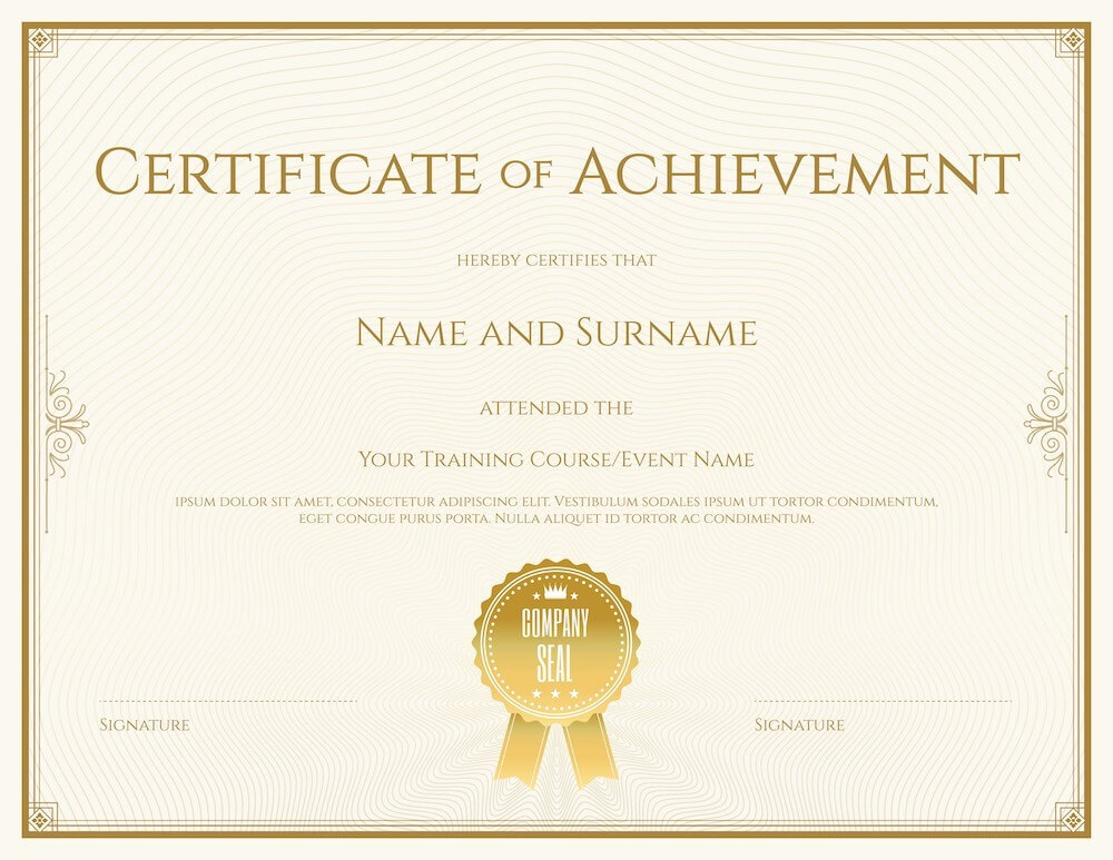 Blank certificate of achievement with place for name, event description, and signature