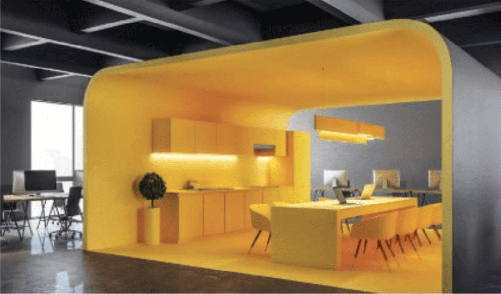 eating space with everything painted in yellow