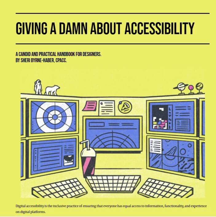 """Yellow and black book cover """"Giving a Damn about Accessibility a Candid and Practical Handbook for Designers by Sheri Byrne-Haber"""""""